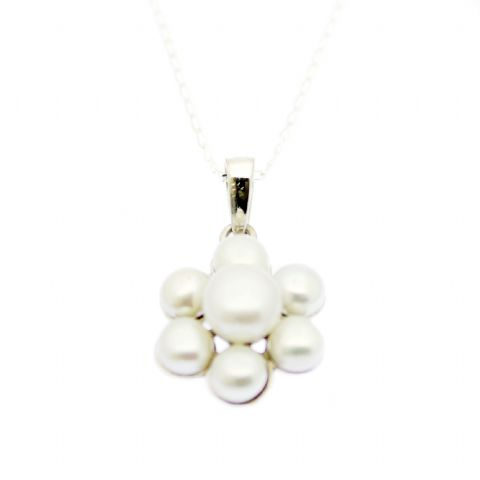 Pearl Daisy Pendant Necklace Sterling Silver